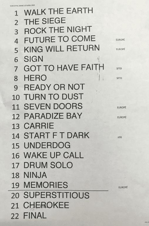Setlist Japan night 2